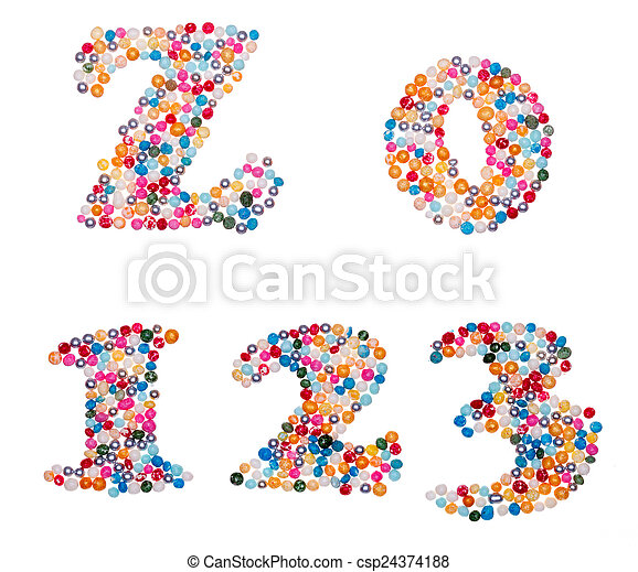 Numbers made of colorful sprinkles - csp24374188