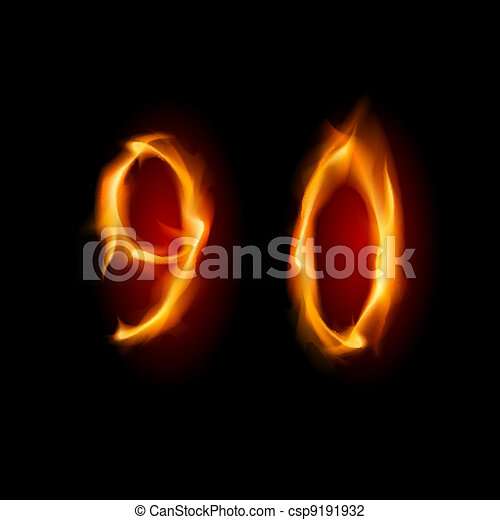 Numbers Nine And Zero Two Alphabet Symbol Of Fire Numbers Nine