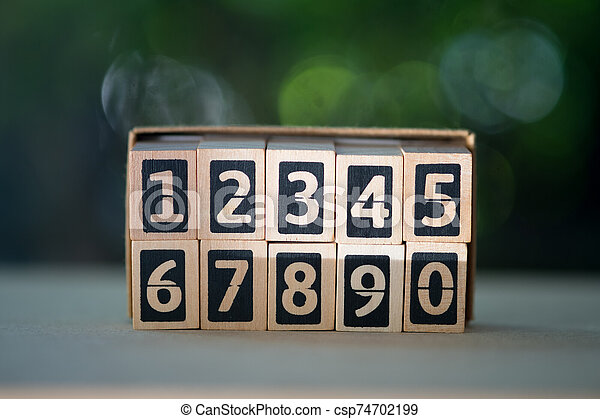 Numbers of wood blocks begin 1 to 0. Learning education concept. - csp74702199