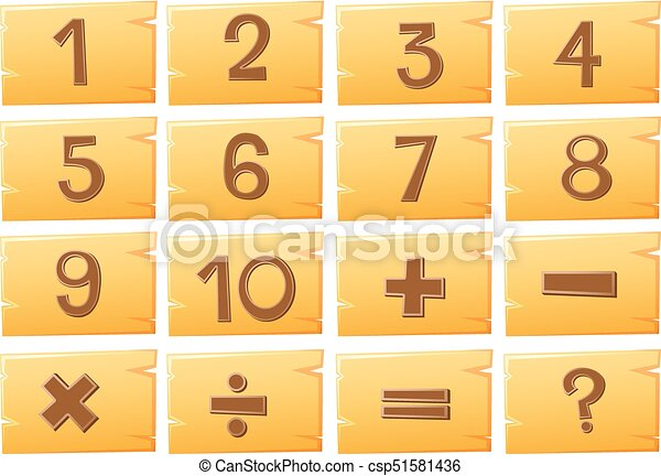Numbers on wooden boards - csp51581436