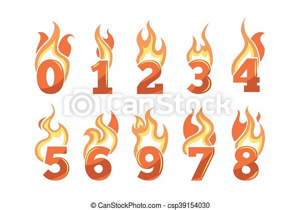 numbers., set, het vlammen, vector, iconen - csp39154030