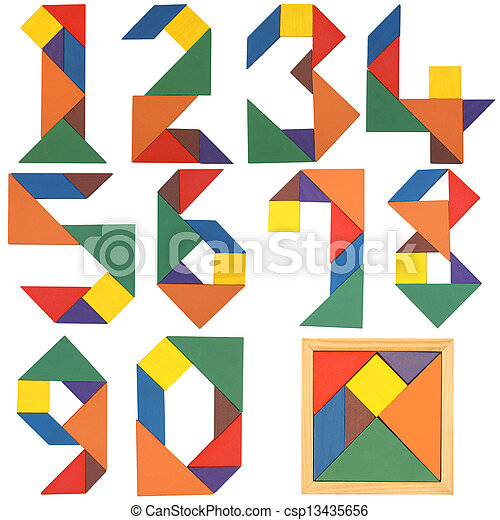 Numbers set, tangram - csp13435656