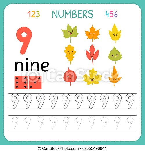 Numbers Tracing Worksheet For Preschool And Kindergarten. Writing Number  Nine. Exercises For Kids. Mathematics Games. Vector CanStock