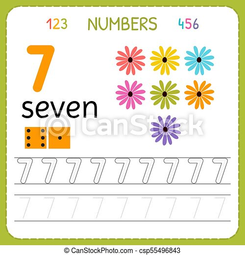Numbers Tracing Worksheet For Preschool And Kindergarten. Writing Number  Seven. Exercises For Kids. Mathematics Games. Vector CanStock