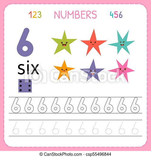 Numbers Tracing Worksheet For Preschool And Kindergarten. Writing Number  Six. Exercises For Kids. Mathematics Games. Vector CanStock