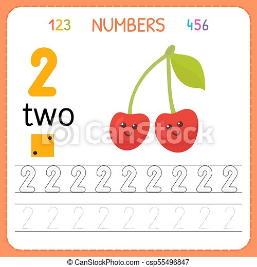 Numbers Tracing Worksheet For Preschool And Kindergarten. Writing Number  Two. Exercises For Kids. Mathematics Games. Vector CanStock