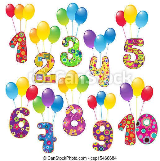 Numbers with balloons - csp15466684