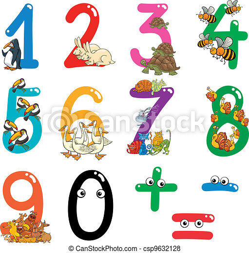 numbers with cartoon animals - csp9632128