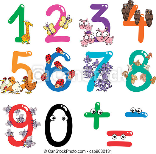 numbers with cartoon animals - csp9632131