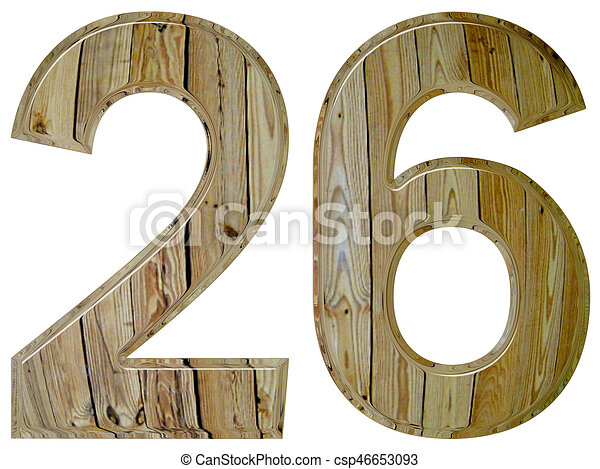 Numeral 26, twenty six, isolated on white background, 3d render - csp46653093