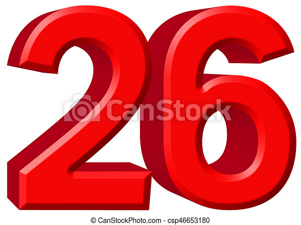 Numeral 26, twenty six, isolated on white background, 3d render -  csp46653180