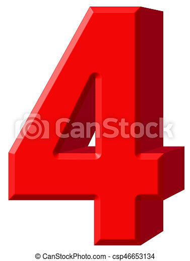 Numeral 4, four, isolated on white background, 3d render - csp46653134