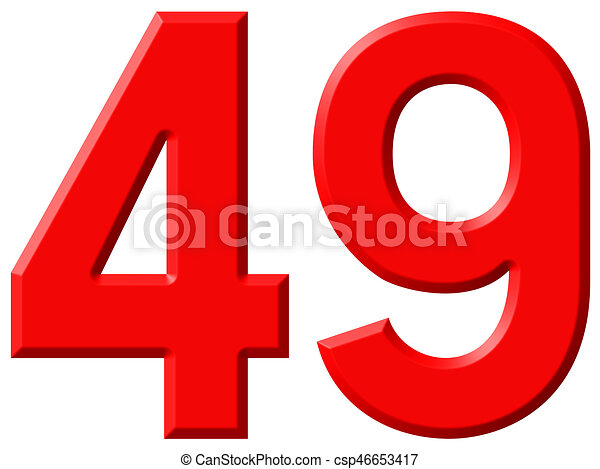 Numeral 49, forty nine, isolated on white background, 3d render -  csp46653417