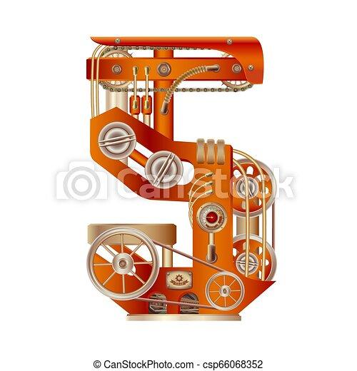 Numeral 5 of mechanic alphabet. Steampunk font. - csp66068352