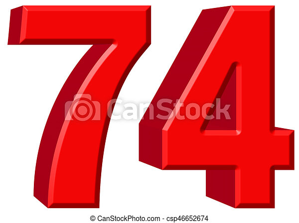 Numeral 74, seventy four, isolated on white background, 3d render -  csp46652674