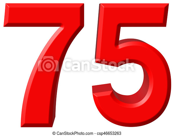 75 >> Numeral 75 Seventy Five Isolated On White Background 3d Render