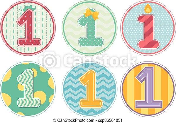 numere 1 padrões aniversário desenho menina coloridos número
