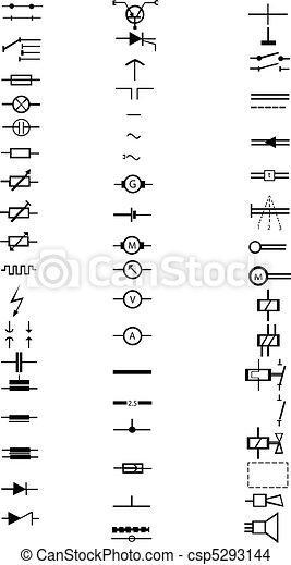 Una lista extensa de numerosas señales eléctricas - csp5293144