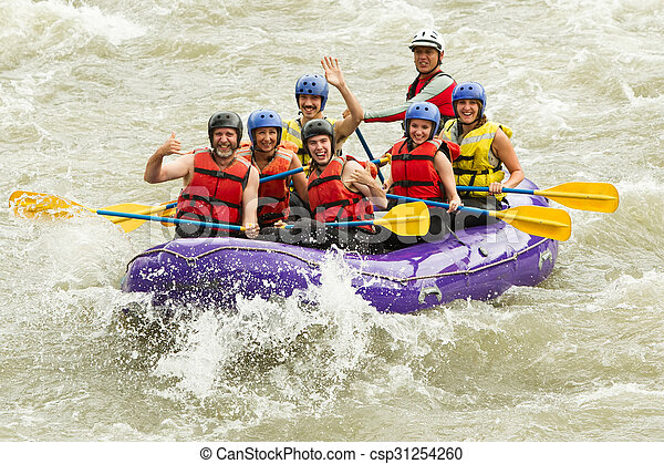Numerous Family On Whitewater Rafting Trip - csp31254260