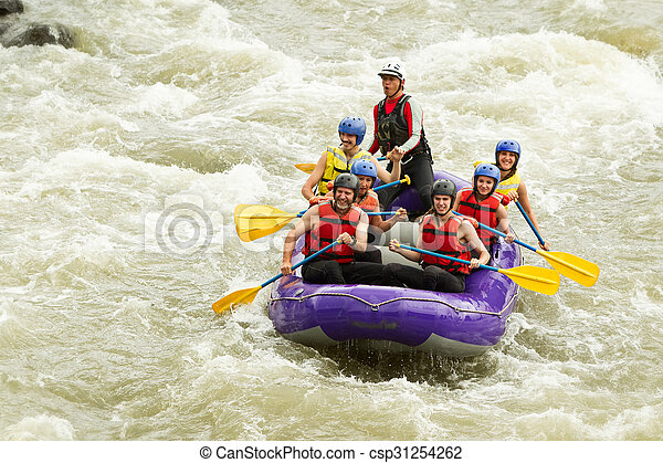 Numerous Family On Whitewater Rafting Trip - csp31254262
