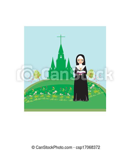 nun praying in front of the church - csp17068372