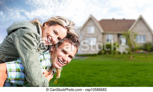 nuovo, house., famiglia, felice - csp10586683