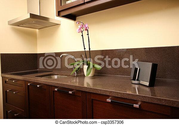 nuovo, moderno, cucina - csp3357306