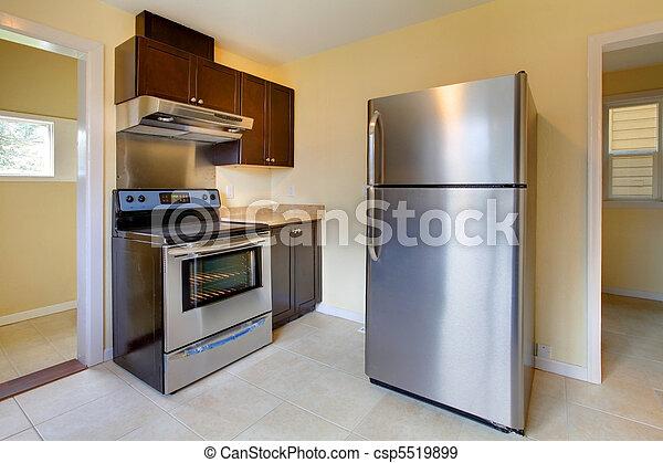 nuovo, stufa, moderno, frigorifero, cucina - csp5519899