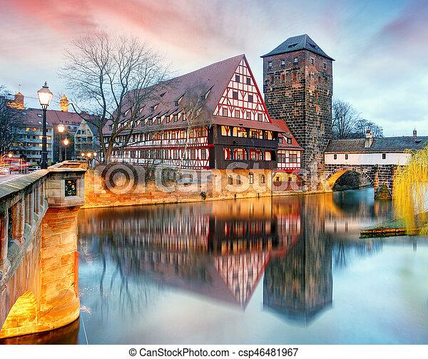 Nuremberg, Germany at Bridge. - csp46481967