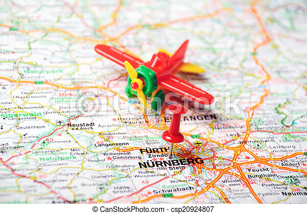 Nurnberg germany map airplane Close up of nurnberg map with