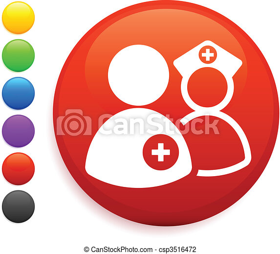 nurse and dcotr icon on round internet button - csp3516472