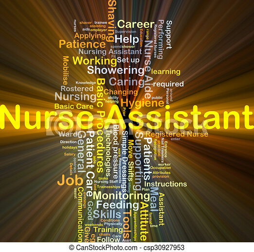 Nurse Assistant Background Concept Glowing Background Concept Wordcloud Illustration Of Nurse Assistant Glowing Light