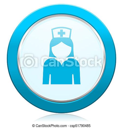 Nurse blue chrome silver metallic border web icon. Round button for internet and mobile phone application designers. - csp51790485