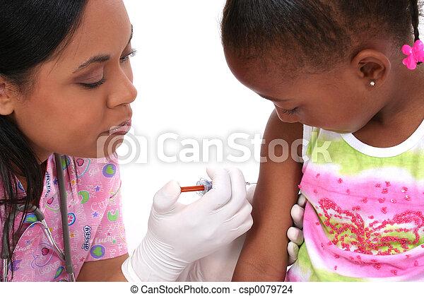 Nurse Child Shot - csp0079724