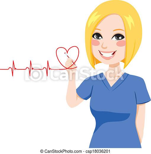 Nurse Drawing Heart - csp18036201