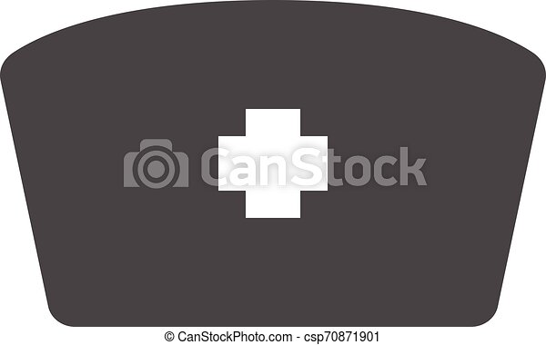 Nurse hat with cross icon isolated. Medical nurse cap sign. Flat design. Vector Illustration, eps 10 - csp70871901