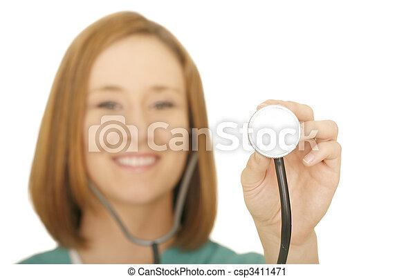 Nurse Holding Stethoscope - csp3411471