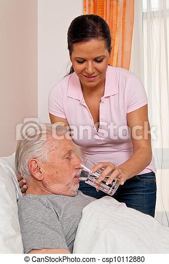 nurse in aged care for the elderly in altenhei - csp10112880
