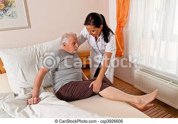 Nurse in aged care for the elderly in nursing homes - csp3926606
