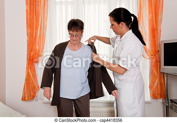 Nurse in aged care for the elderly in nursing homes - csp4418356