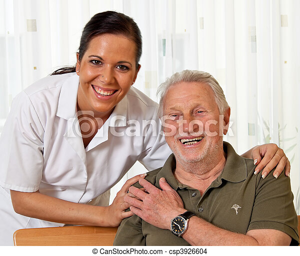 Nurse in aged care for the elderly in nursing homes - csp3926604