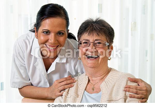 nurse in aged care for the elderly in altenhei - csp9562212