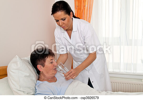 Nurse in aged care for the elderly in nursing homes - csp3926579
