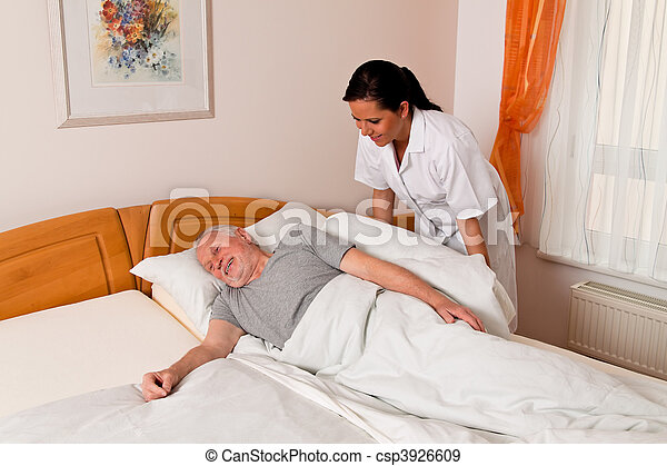 Nurse in aged care for the elderly in nursing homes - csp3926609