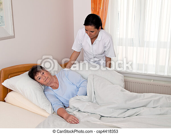 Nurse in aged care for the elderly in nursing homes - csp4418353