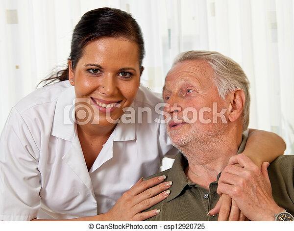 nurse in elderly care for the elderly in nursing homes - csp12920725