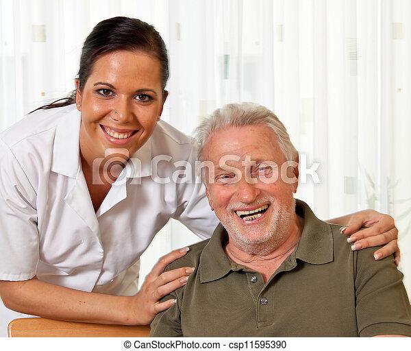 nurse in elderly care for the elderly in nursing homes - csp11595390