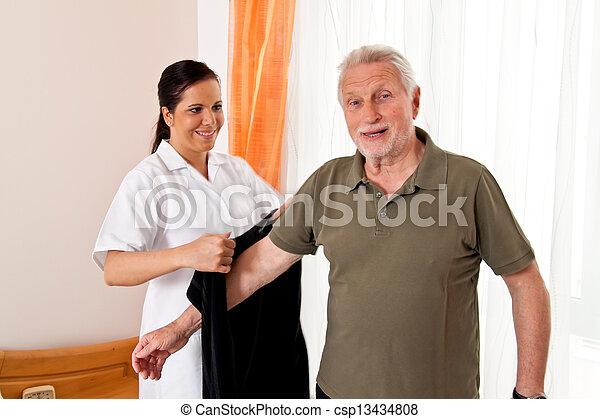 nurse in elderly care for the elderly in nursing homes - csp13434808