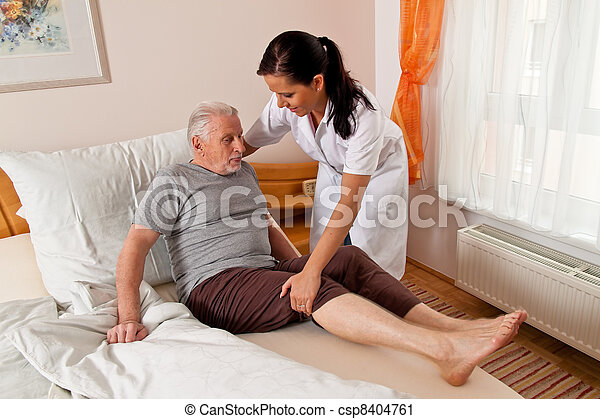 nurse in elderly care for the elderly - csp8404761