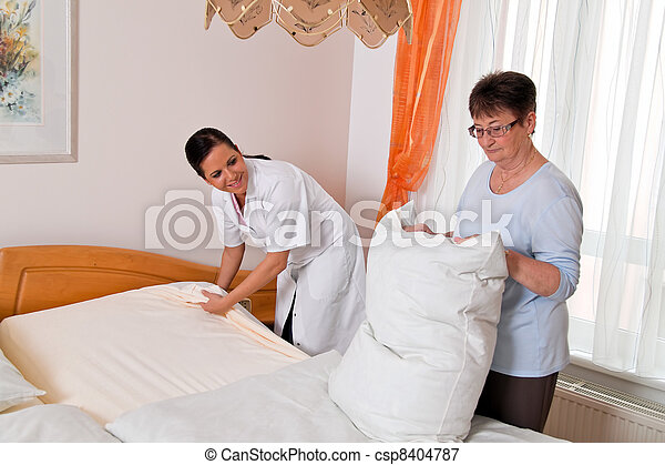 nurse in elderly care for the elderly - csp8404787